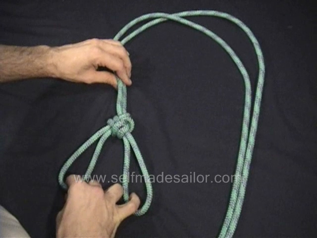 A knot tying video showing how to tie a Three Part Crown.